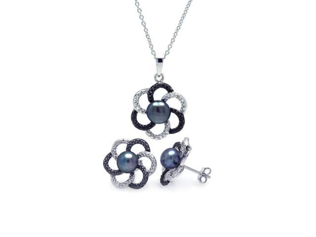 .925 Sterling Silver Rhodium Plated Multicolor Open Flower Cubic Zirconia Black Pearl Stud Earring & Necklace Set