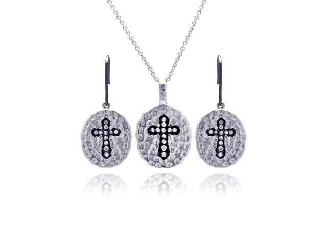 .925 Sterling Silver Black &  Rhodium Plated Round Black Cross Cubic Zirconia Inlay Dangling Hook Earring & Necklace Set