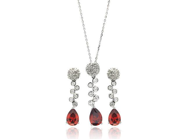 .925 Sterling Silver Rhodium Plated Red Teardrop Clear Round Cubic Zirconia Hanging Stud Earring & Hanging Necklace Set