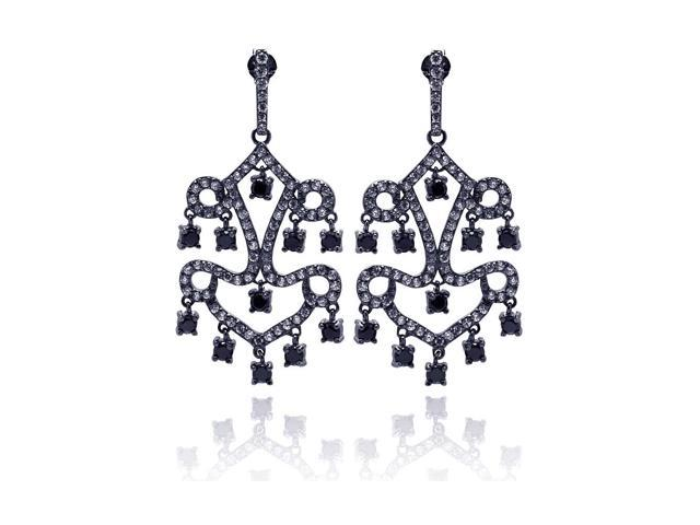 .925 Sterling Silver Oxydized Rhodium Plated Round Black  Cubic Zirconia Dangling Chandelier Stud Earring