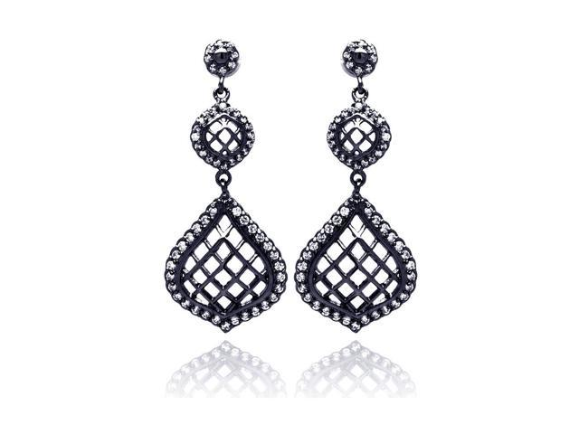 .925 Sterling Silver Black Rhodium Plated Round Pear Teardrop Cubic Zirconia Dangling Earring