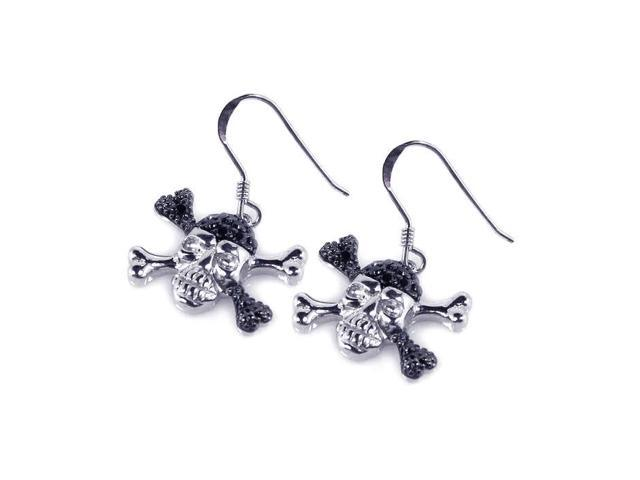 .925 Sterling Silver Black &  Silver Rhodium Plated  Pirate Skull Cubic Zirconia Dangling Hook Earring