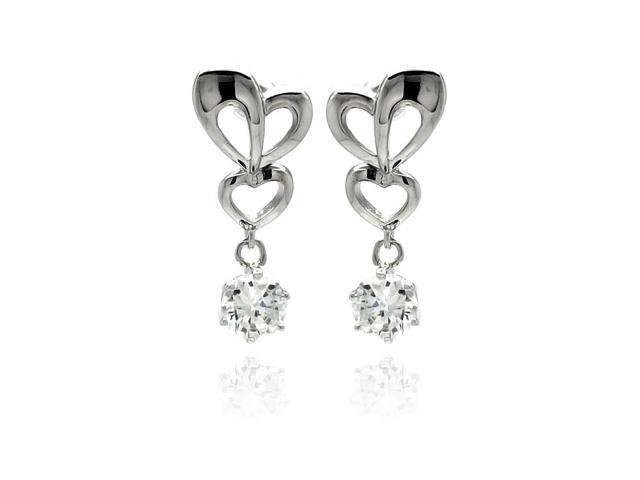 Rhodium Plated Brass Clear Cubic Zirconia Heart Accent Earring