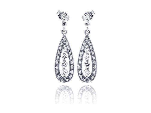 .925 Sterling Silver Rhodium Plated  Teardrop Marquise Cubic Zirconia Dangling Earring