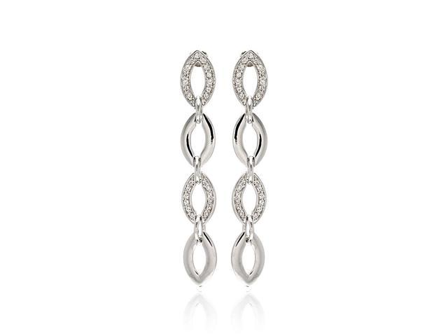 Rhodium Plated Brass Clear Cubic Zirconia Oval Link Earring