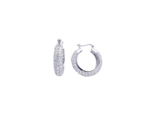 .925 Sterling Silver Rhodium Plated  Round Cubic Zirconia Hoop Earring