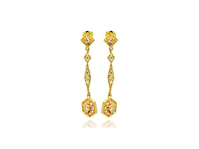 .925 Sterling Silver Gold Rhodium Plated Marquise Cubic Zirconia Dangling Earring