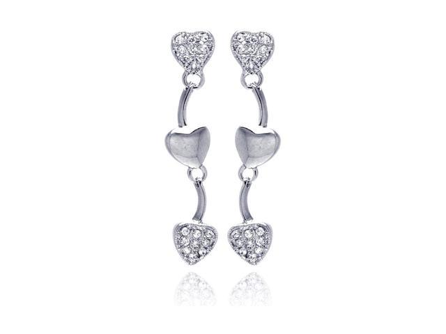 Rhodium Plated Brass Clear Cubic Zirconia  Heart Dangling Earring