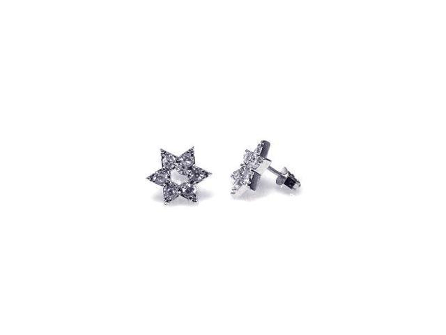 .925 Sterling Silver Rhodium Plated Star of David Clear Cubic Zirconia Stud Earring