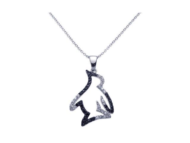 925 sterling silver black rhodium plated clear cubic zirconia 925 sterling silver black rhodium plated clear cubic zirconia penguin pendant necklace aloadofball Gallery
