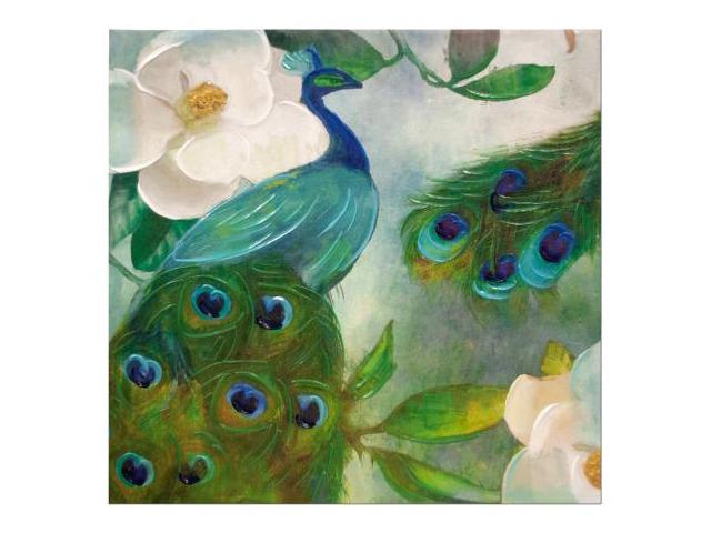 Peacock canvas wrapped wall art set of 1 home decor wall decor wholesale - Peacock home decor wholesale photos ...
