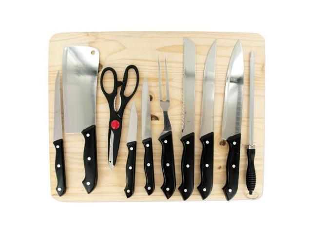 Chef Knife Set With Wooden Cutting Board Set Of 3