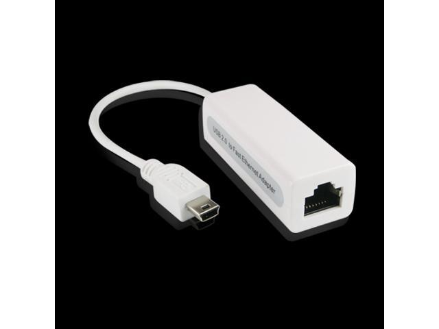 White USB 5P to RJ45 Network Ethernet Card Adapter Converter for Mac Win7