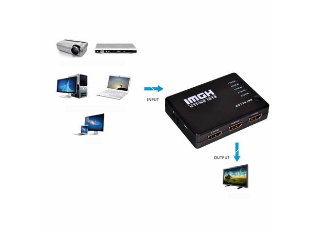 5 Ports HDMI Switch 1080P HD Video Switcher Selector 5 in 1 out Splitter + IR Remote for HDTV PS3 DVD