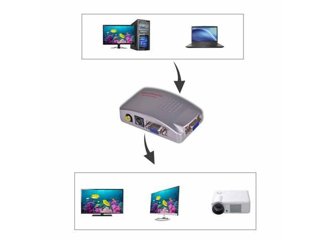 PC VGA to AV Composite Converter RCA TV Monitor S-video Signal Adapter Converter Switch Box PC to TV NEW