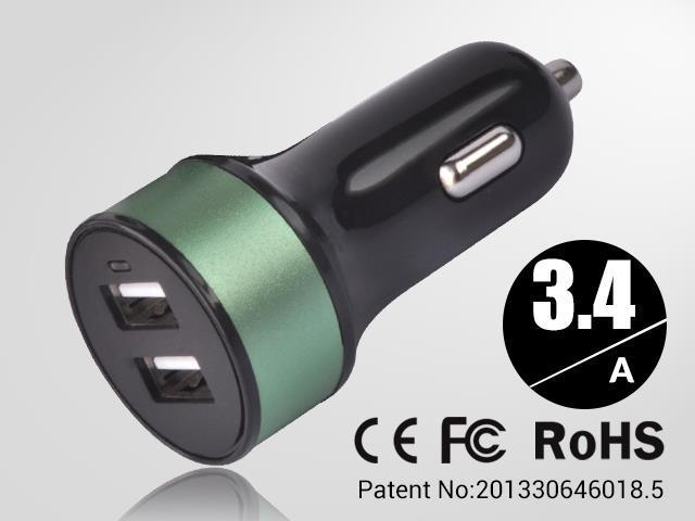 Green Universal dual USB Car Charger auto adapter for Smartphones & Apple devices /sumsung 5V DC @ 3.4A