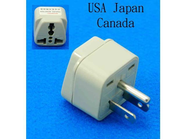 Universal USA UK AUS EURO to USA Japan Canada Taiwan Grounded Travel Adapter AC Power Plug