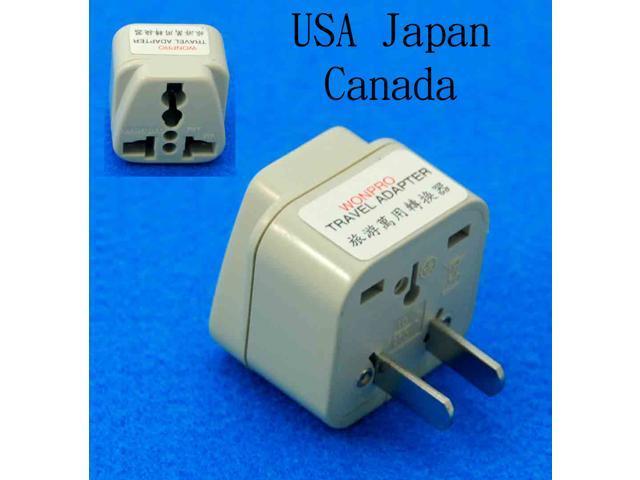 Universal USA UK AUS EURO to USA Canada Japan Taiwan Ungrounded Travel Adapter AC Power Plug
