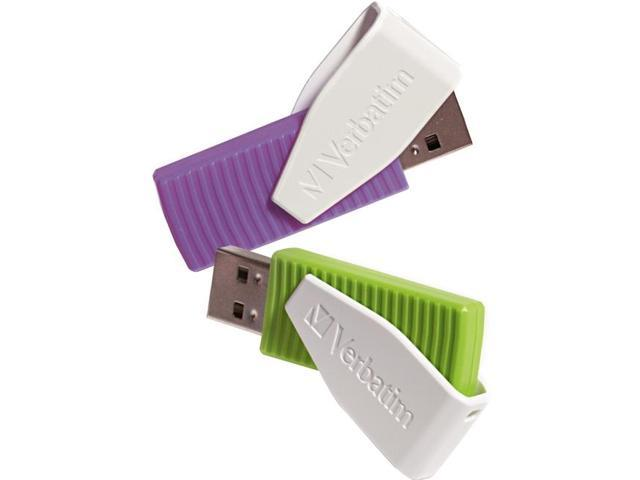 Verbatim 16GB Store 'n' Go Swivel USB Drive 16GB 2PK - Green/Violet Model 98425