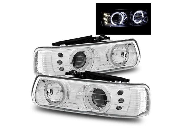 99 02 chevy silverado 00 06 tahoe suburban led halo projector headlights chrome newegg