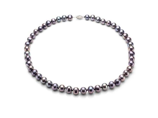 "Sterling Silver 9-10mm Black Round Freshwater Pearl Necklace 18"" Length. - OEM"