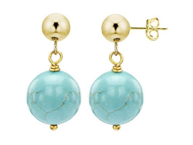 14k Yellow Gold with 8mm Blue Turquoise Gemstone Stud Ball Earring. - OEM