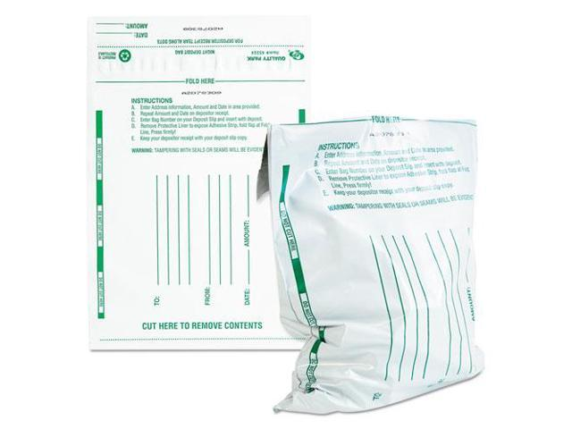 Poly Night Deposit Bags w/Tear-Off Receipt 8.5 x 10-1/2 Opaque 100 Bags/Pack