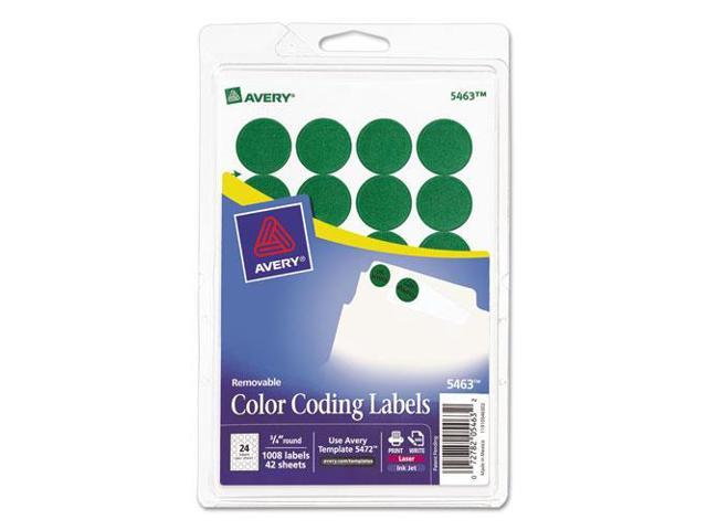 "Removable Labels, 3/4"" Round, 1008/PK, Green AVE05463"