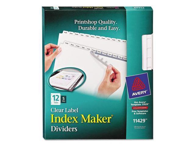 Index Maker Clear Label Dividers, 12-Tab, Letter, White, 5 Sets/Pack