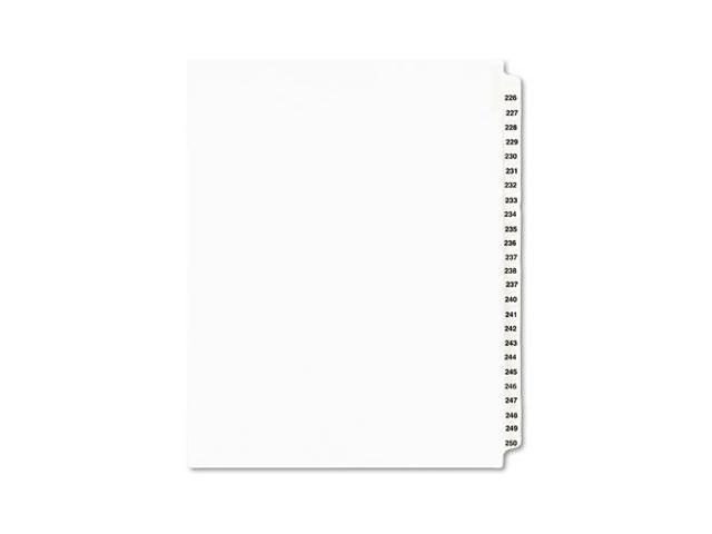 "Index Dividers, Side Tab, 226-250, 8-1/2""x11"", White AVE01339"