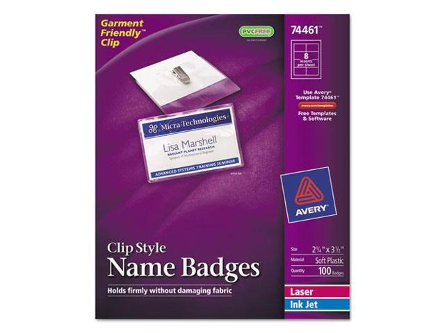 """Name Badges,w/ Clip,Top Load,2-1/4""""x3-1/2"""",100/BX,White AVE74461"""