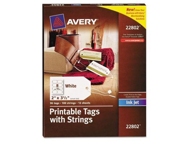 Printable Tags with Strings 2 x 3 1/2 White 96/Pack