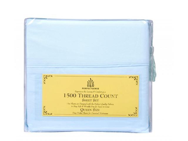 New 1500 Thread Count Luxury Soft Deep Pocket 4pc Bed Sheet Sets by PerfectSense in Aqua