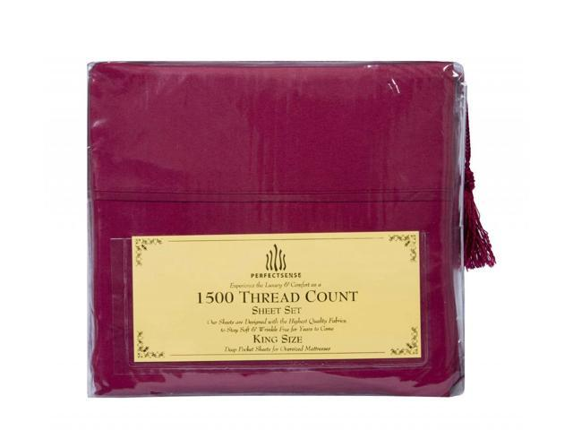 New 1500 Thread Count Luxury Soft Deep Pocket 4pc Bed Sheet Sets by PerfectSense in Burgundy