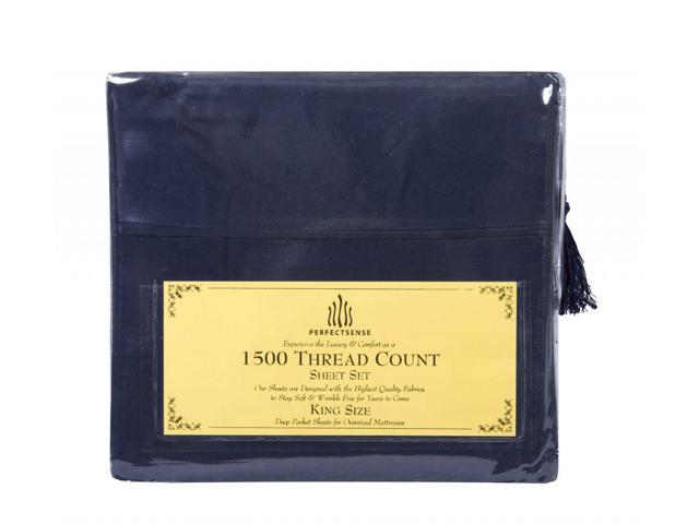 New 1500 Thread Count Luxury Soft Deep Pocket 4pc Bed Sheet Sets by PerfectSense in Navy Blue