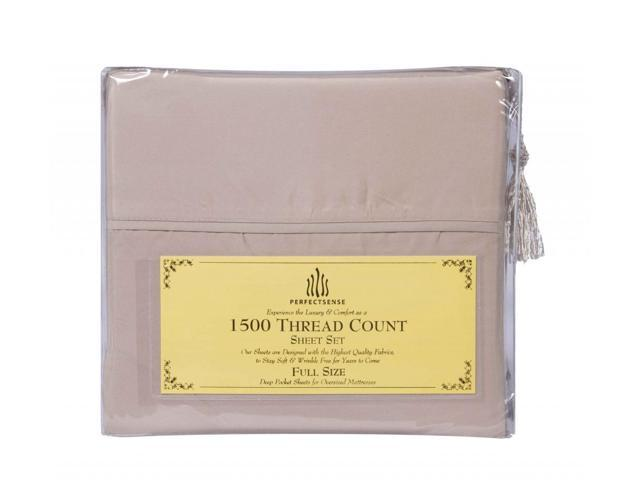 New 1500 Thread Count Luxury Soft Deep Pocket 4pc Bed Sheet Sets by PerfectSense in Dark Cream