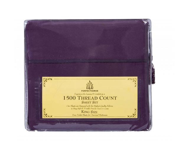 New 1500 Thread Count Luxury Soft Deep Pocket 4pc Bed Sheet Sets by PerfectSense in Eggplant