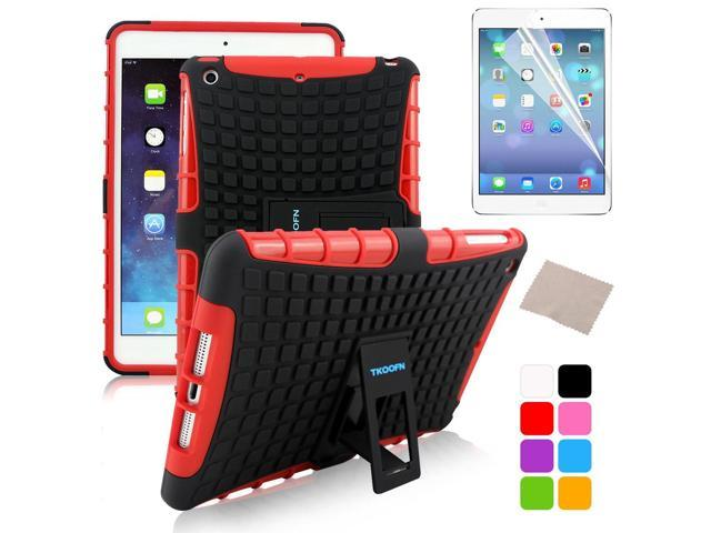 BESDATA Red Hybrid Heavy Duty Case Cover Stand for Apple iPad Mini 1 1st Gen  +Stylus Film