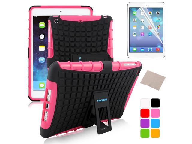 BESDATA Pink Hybrid Heavy Duty Case Cover Stand for Apple iPad Mini 1 1st Gen  +Stylus Film