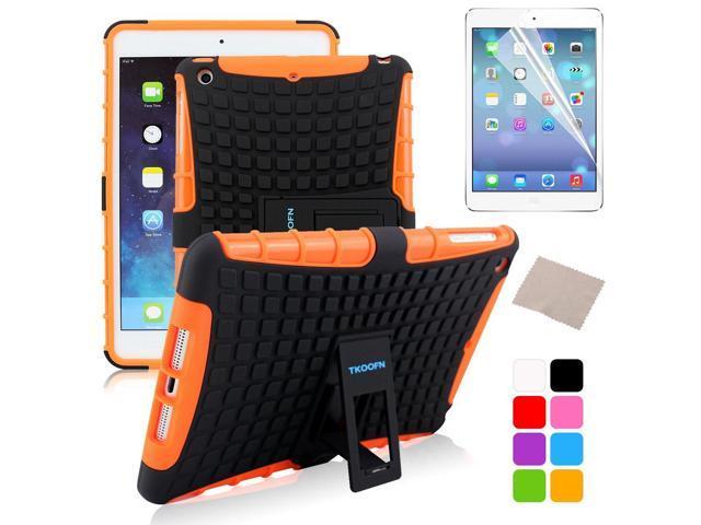 BESDATA Orange Hybrid Heavy Duty Case Cover Stand for Apple iPad Mini 1 1st Gen  +Stylus Film