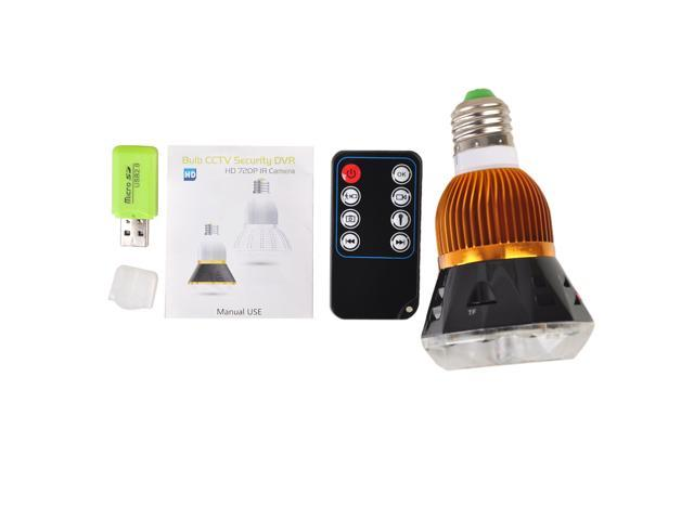 HD 720P H.264 Bulb CCTV Hidden Camera Security DVR Lamp IR Camera Motion Detect Night Vision Video Recorder