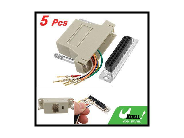 Db 25 Pin To Rj45 Male Modular Adapter Connector Extender 5 Pcs