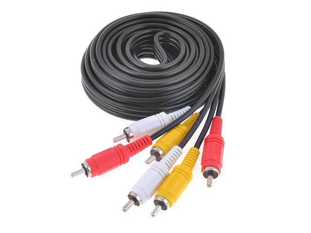 10Feet Triple 3 Male RCA Composite Audio Video DVD TV AV Cable Black