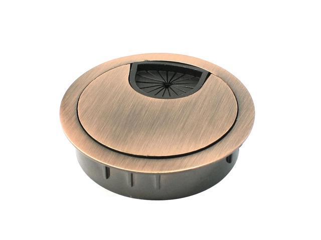 copper tone grommet cable cord hole cover for computer desk. Black Bedroom Furniture Sets. Home Design Ideas