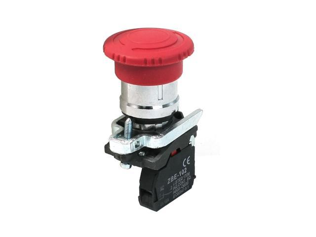 Unique Bargains AC 240V 6A Latching Red Mushroomhead Emergency Rotary Push Button Switch