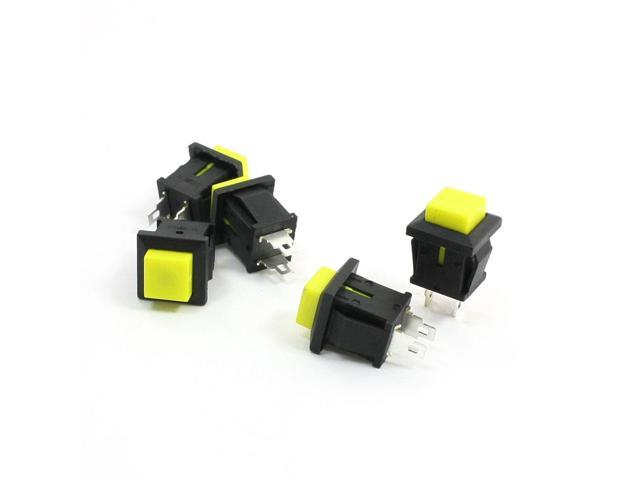 5 Pcs SPST AC 125V 1A Momertary Yellow Square Push Botton Switch