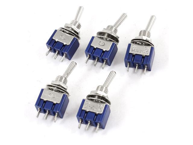 Unique Bargains 5 Pieces AC 125V 6A 3 Pins SPDT ON/OFF Latching 2 Positions Toggle Switches
