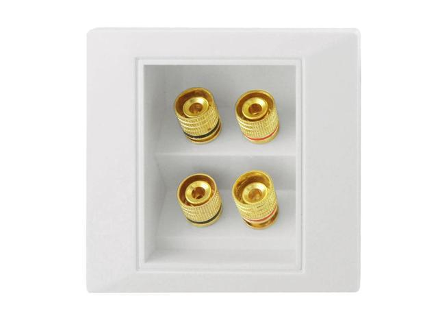 White Plastic Shell Gold Tone Binding Posts Audio Wall Plate Panel
