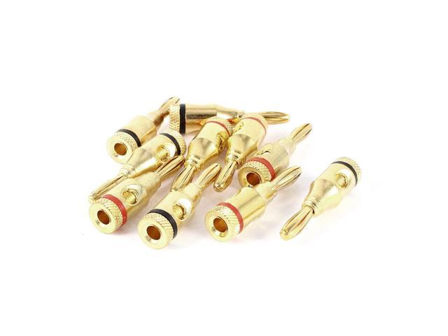 10 x Red Black Gold Plated Coupler 4mm Banana Plug for Audio Video Speaker Cable