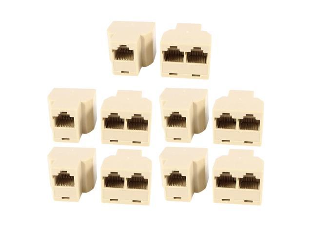 RJ45 Female to 2 Female Phone Cable Couplers Connectors Adapters 8P8C 10pcs